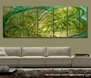 """Modern Feng Shui Abstract Metal Wall Art Green Decor Sculpture """"Secret Garden"""""""