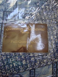 Tommy Bahama Indigo Blue Tropical Full Queen Quilt Coverlet Set