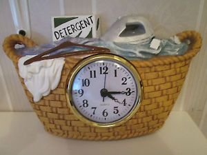 Old Fashioned Bath Laundry Room Cloths Basket Wall Clock Bath Hamper Wall Clock