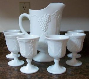 Vintage Colony Milkglass Pitcher 6 Wine Water Glasses Grape Pattern