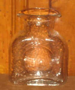 Vintage Blenko Clear Glass Vase Pitcher or Water Bottle