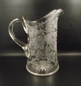 Antique Grape and Vine Engraved Cut Glass Water Pitcher