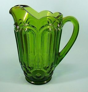 Le Smith Moon Star Green Water Pitcher Pattern Glass