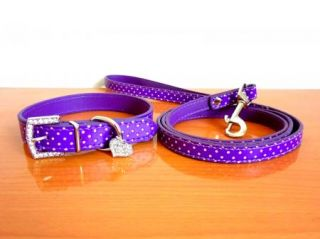 Bling Rhinestone Heart Pendants Purple PU Leather Pet Dog Collar Leash Lead Set