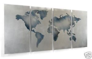 Abstract Metal Wall Art Contemporary Modern World Map Wall Decor Ash Carl