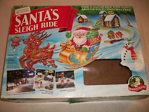 Santa's Sleigh Ride 1993 Mr Christmas Train Track w Lights Circles Your Tree