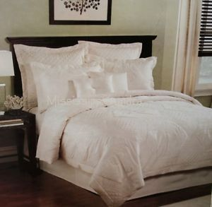 Bermuda 8PC Queen Quilted Duvet Cover Set Solid Ivory Palm Tree Tropical Beach