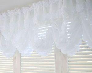 Large Balloon Shades Valance Curtain White Beads Window Treatment Kitchen Drape