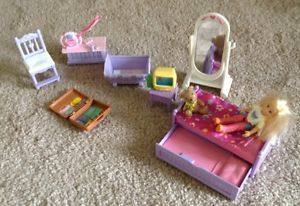 Fisher Price Loving Family Dollhouse Girls Bedroom Set Trundle Bed RARE EUC