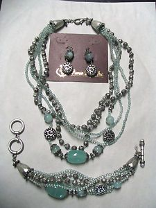 Premier Designs Cool Water Jewelry Set Necklace Bracelet Earrings Aqua Glass