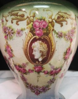 Antique 1910 Beswick Pottery Troy Mantle Vases Portrait Marc Anthony Pink Roses