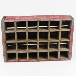 Vintage Dr Pepper Wooden Crate 24 Bottle Wood Caddie 1982 Burgundy White 18B