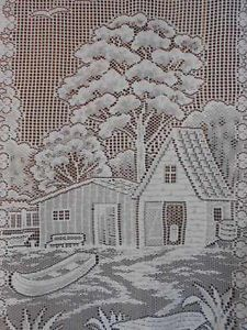 Chalet Log Cabin Canoe French Motif Lace Curtain Window Treatment Feature Panel