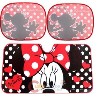 Disney Minnie Mouse Windshield RARE Window Sun Shade 3pc Set Auto Accessories