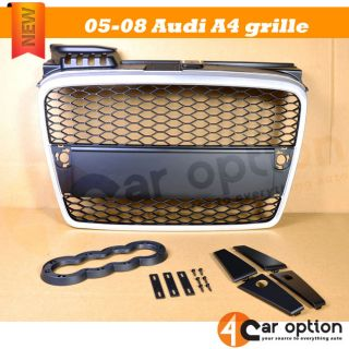 05 07 08 Audi A4 B7 Mesh Front Hood Grille Grill Silver Black
