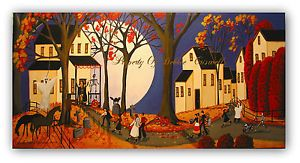 Original Painting Folk Art Halloween House Party Costume Witch Dog Cat Skeleton