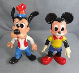 """15"""" 1960s Walt Disney Productions Goofy Dog Mickey Mouse Rubber Doll Toy Figures"""