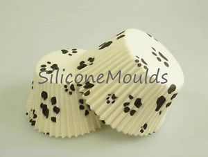 60 Approx Paw Print Dog Cat Std Muffin Cup Cake Cupcake Pan Paper Cases Liners
