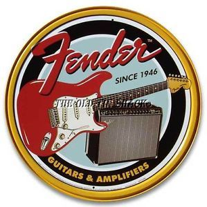 Nostalgic Tin Metal Sign Fender Electric Guitars Amplifiers Round 1858