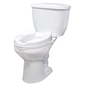 """Drive 12062 White Raised Elevated Toilet Seat Riser Without Lid 2"""" Bathroom"""
