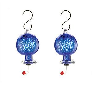 Hummingbird Feeders 2 Hand Blown Blue Glass Humming Bird Nectar Feeder Set New