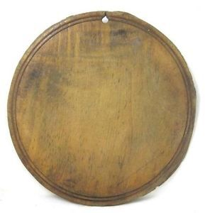 Antique 19thC Round Bread Board AAFA Treenware Folk Art Primitive Cutting
