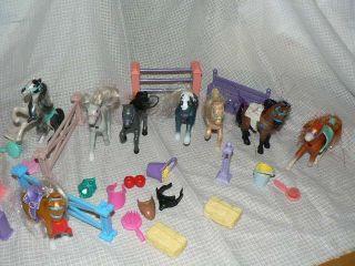 Vintage Kenner Littlest Pet Shop Pony Lot 15 Ponies Saddles Fences Brushes