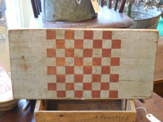 Antique Early Primitive Old Paint Game Board Checker Board Wooden Folk Art AAFA