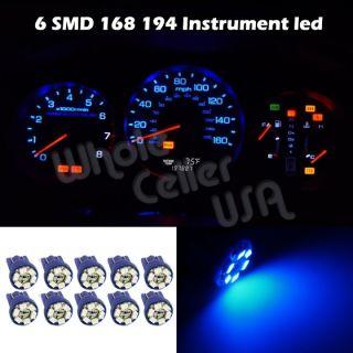 10x Bright Blue T10 Wedge Gauge Cluster Instrumental Speedometer LED Light Bulb