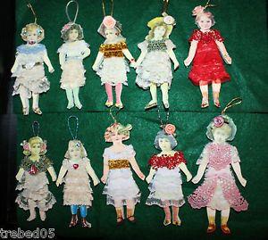 10 Unique Vintage Style Altered Art Victorian Paper Doll Ornaments Pkg Tie Ons