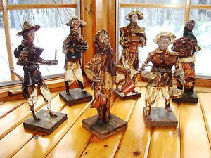 Vintage Lot of 6 Collectible Mexican Paper Mache Figures Folk Art