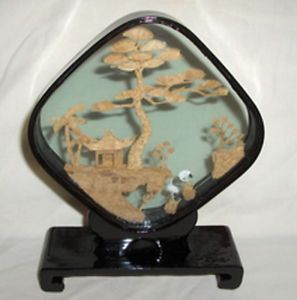 Chinese Diorama Carved Cork Art Sculpture Diamond Shape Black Lacquer Shadow Box