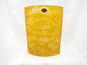 Dam Dam Art Glass Vase Hand Made Cool Yellow Cylinder Shape