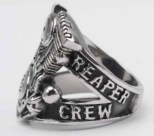 Authentic Sons of Anarchy Reaper Crew SOA V Twin Engine Steel Ring SAMCRO Size 8