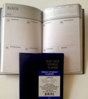 2013 2014 Daily Weekly Back to School Planner Appointment Book Journal Blue