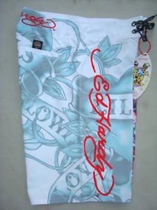 Ed Hardy Christian Audigier Men White Board Swim Surf Short Graffiti Art Tag New