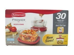 New Rubbermaid Premier 30 Piece Plastic Food Storage Containers Easy Find Lids