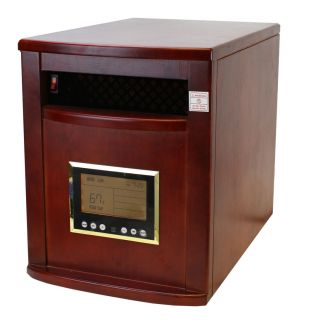 Wood Cabinet Cherry 1500W Portable Quartz Infrared Heater w Wheels 5600BTU