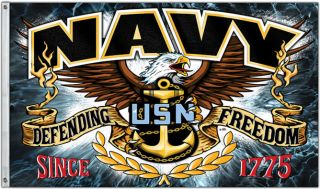 United States Navy Polyester 3' x 5' Flag Defending Freedom U s Navy Eagle