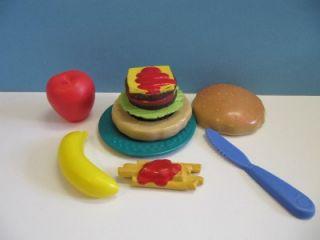 Fisher Price Fun with Play Food Kitchen Dish Hamburger Burger Happy Meal Lot Set
