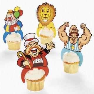 12 Carnival Circus Cupcake Food Picks Cake Topper Decorations