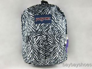 Jansport Superbreak T501 Backpack White Black Cosmo Zebra Animal Print New