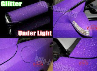 "Air Free 4"" x 60"" Car Matte Purple Sparkle Glitter Wrap Vinyl Film Stickers"