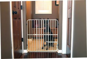 """Extra Tall Expandable Steel Big Dog Gate w Small Pet Door Fits 26"""" 42""""w x 32""""H"""