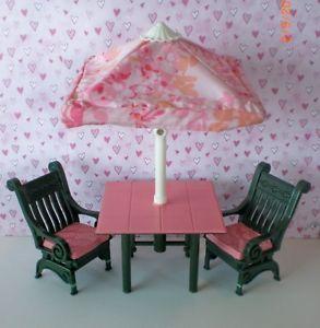 Fisher Price Loving Family Dollhouse Backyard Patio Table Umbrella Chairs Lot