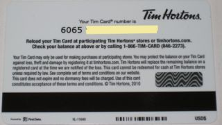Tim Horton's Coffee Winter Cup Gift Card Collectible No Value Red Mittens 2010