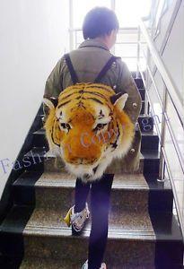 Cool Huge Fashion Tiger Head Lion White Tiger Head Bag Knapsack Backpack Amazing