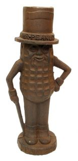 "New 11"" Mr Peanut Man Cast Iron Bank Rust Colored Rubber Plug in Bottom"