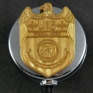 NCIS Navy Special Agent Security Badge Retractable ID Card Holder Reel Chrome
