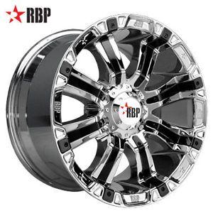 "18"" RBP 94R 18 inch Chrome Truck Offroad Rims Wheels Nitto Tires"